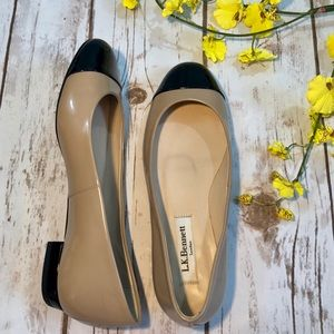 L. K. Bennett Tan Black Patent Leather Flats